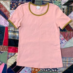 Anthropologie 9-H15 S'CL Pink & Mustard Soft Tee